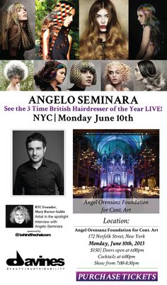 THIS MONDAY June 10 in NYC- GET TICKETS! See 3 Time British Hairdresser of the Year, Angelo Seminara, in Private Show sponsored by Davines & BTC. Click pic for Tickets: