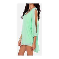 Rotita Green Split Long Sleeve V Neck Chiffon Dress ($14) ❤ liked on Polyvore featuring dresses, green, green long sleeve dress, chiffon print dress, green mini dress, chiffon sleeve dress y sleeve dress