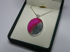Pink and Granite Enamel Oval Pendant £18.00