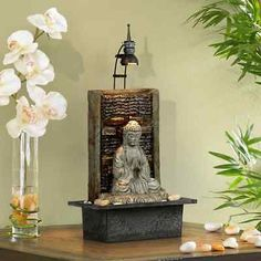Namaste Buddha Water Tabletop Fountain Indoor Decor Waterfall Relax Feng Shui