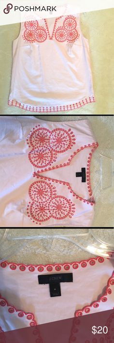 J Crew Embroidered Top Sleeveless light pink shell with dark pink embroidery. Only worn twice - like new! Side zipper. 100% cotton and machine washable. J. Crew Tops