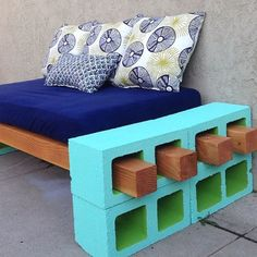 Our bench is done. Such a great way to reuse a crib mattress.