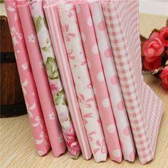 8pcs Pink Cotton DIY Sewing Fabric Handwork Curtain Patchwork Cloths - Banggood Mobile