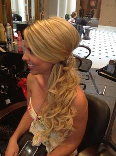 Half updo with curls, wedding hair. Beautiful bride to be  Ashley @ Dean Sadler Hair Studio