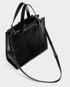 Image 1 of CRACKED LEATHER TOTE BAG from Zara Zara Women, Zara United Kingdom, Fashion 2017, Street Fashion, Bag Sale, Gym Bag, Tote Bag, Vinter, Handbags