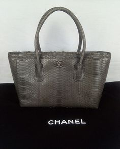 100% Authentic CHANEL Python Shopping Tote Bag Gray NEW #Chanel #ShoppingToteBag
