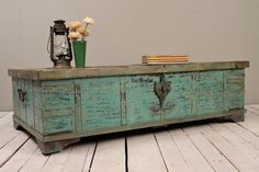Turquoise Green Reclaimed Salvaged Antique Indian Wedding Trunk Coffee Table Storage Chest