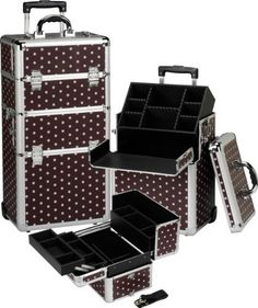"""Seya 2 in 1 Professional Rolling Makeup Case Cosmetic Organizer Kit - Chocolate Croc by Seya. $149.95. High quality construction with a chocolate/pink polka dot exterior finish, steel corners and aluminum edges. Adjustable and removable dividers . Removable tray in bottom section.. Measures:14.25""""L x 9.5""""W x 28""""H. Heavy duty ergonomic locks with dual keys. Telescopic handle with in-line skate wheels for easy mobility. The ULTIMATE professional makeup case kit. A special edition ..."""
