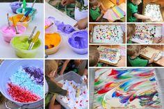 PEINTURE DE MOUSSE En mélangeant de la peinture liquide et de la crème à raser, vous pouvez créer une peinture géniale qui donnera de très beaux résultats quand vous enlèverez l'excédent de mousse de votre feuille.