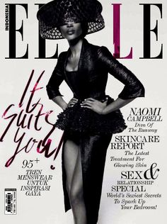 cover design | Elle Naomi Campbell Indonesia/Endonezya February/Şubat 2014 Magazine Cover