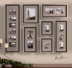 Massena, Photo Collage, S 7 | Garbe'sThis collection of frames features a lightly antiqued silver leaf finish with a matte black liner. Photos are surrounded by oatmeal linen mats. May be hung horizontal or vertical. Holds photo Sizes: 11-4x6,1-8x10,4-5x7 Frame Sizes: 13x40,15x17,11x27,2-    Designer: Grace Feyock   Dimensions: 44 W X 58 H X 2 D (in)   www.garbes.com