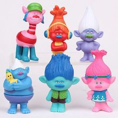 6Pcs/Set Movie Trolls 4.3inch Height Figures Toys Cake Topper Kids Birthday Gift Children Funny Toys