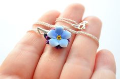 Blue forget me not necklce polymer clay handsculpted flower