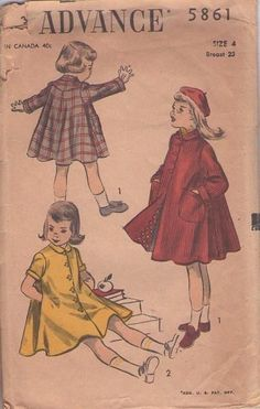 Vintage Advance 5861 Girls Swing Coats Sewing by RomasMaison Vintage Kids Fashion, Vintage Children, Vintage Outfits, Vintage Clothing, Vintage Dress, Coat Pattern Sewing, Coat Patterns, Clothes Patterns, Childrens Sewing Patterns