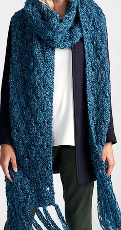 Free Knitting Pattern for Quick Easy Breezy Super Scarf - Cozy textured extra-long scarf with leaf-shaped motifs from Michaels. Quick knit in super bulky yarn.