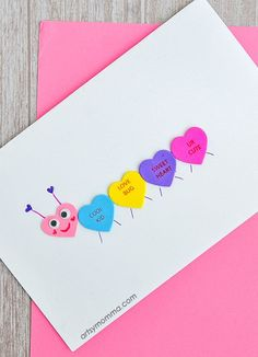 Cute Conversation Heart Caterpillar Card - Easy Valentine's Day Craft
