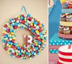 This wreath would be fun to make for birthdays.  Maybe have happy birthday wood letters across the wreath and then hang it any time it's someone b-day.