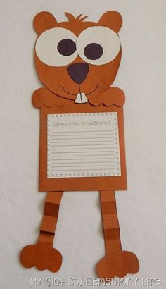 Groundhog's Day Craft and writing activity. Love those eyes!
