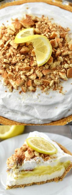 This No-Bake Lemon Cream Pie from Cupcake Diaries is the perfect springtime dessert! It has a crunchy graham crust, a smooth cheesecake layer, a tart lemon layer, and crunchy wafers, all topped with whipped cream!