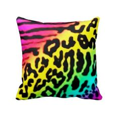 Rainbow Leopard Fashion Design Pillow ($36) ❤ liked on Polyvore featuring home, home decor, throw pillows, quote throw pillows, leopard home accessories, leopard home decor and leopard throw pillows