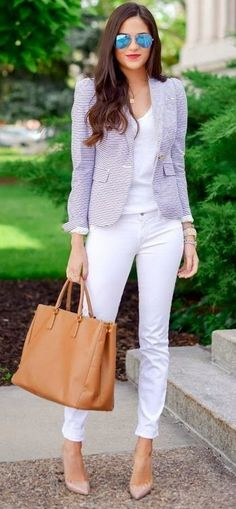 super chic white pastel outfit for work