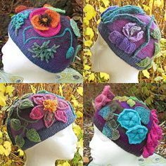Joan Rowe has done it again! A beanie in three sizes featuring a gorgeous garden filled with flamboyant flowers. This beanie is knitted in the round with fingering weight yarn, although the flowers can be attached to any hat. Instructions are given for clematis, foxglove, iris, morning glory, nasturtium, poppy and trumpet vine. Fill your garden with just one, or with a colorful medley of flowers.