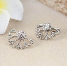 Anchilly Bloom Floral Sweet Petal Dual Ear Piercing Dainty Jewelry Vacation Party for Girls Women Ladies with Nice Gift Box Long Flowers Earrings