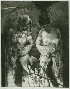 Alexander Steshenko, Awakening of a puppet. 1996, etching, aquatint, 'Master of puppets' series, Plate 3, 19 by 25 cm.