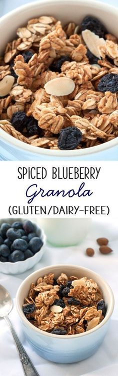 Spiced Blueberry Almond Granola {naturally gluten-free, dairy-free, whole grain, maple-sweetened}: Gluten Free Recipes For Breakfast, Dairy Free Recipes, Real Food Recipes, Healthy Recipes, Healthy Baking, Healthy Eats, Healthy Snacks, Yummy Snacks, Brunch Recipes