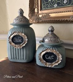 Pet Canister Makeover - Patina and Paint Fun Crafts, Diy And Crafts, Decoupage Jars, Decorated Wine Glasses, Canisters, Artsy Fartsy, Decor Ideas, Painting, Bottles