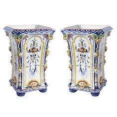 """Pair of Italian late 19th century """"Ginori"""" majolica urns."""