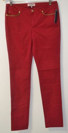 NEW Juicy Couture Red Skinny w/leather on the pockets women's jeans Sz 6 Fashion #JuicyCouture #SlimSkinny