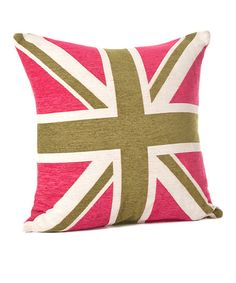 Fuchsia & Green Union Jack Throw Pillow