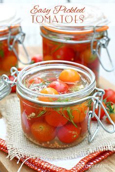 Easy Pickled Cherry Tomatoes | So quick to make, these tomatoes are great on salads, as an appetizer, or straight from the jar! #recipe