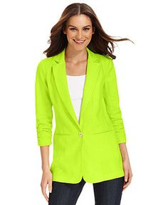 Designer Clothes, Shoes & Bags for Women Boyfriend Blazer, Blazer Jackets For Women, Professional Attire, Quarter Sleeve, Michael Kors, Sleeves, How To Wear, Kiwi, Shopping