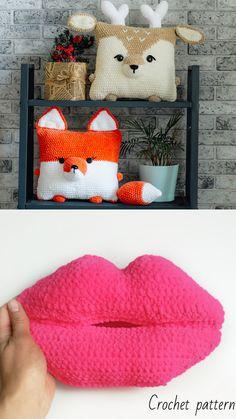 Crochet pattern pillows #crochetpattern #crochetpillow #crochetlips #crochetgift