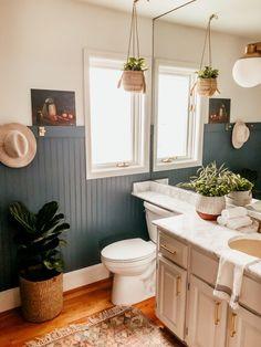 DIY Beadboard Wall and Guest Bathroom Reveal - DIY Beadboard Wall and Modern Bathroom Renovation Diy Bathroom Remodel, Bathroom Renovations, Layout Design, Design Ideas, White Beadboard, Bathroom Beadboard, Ikea Bathroom, Bathroom Plants, Beadboard Wainscoting