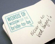 "Bridal Shower ""Words of Wisdom"" cards"