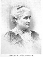 """In her autobiography, Harriet H. Robinson described her years in the Lowell factories, where she worked from age 10 until her marriage at 23. In 1835, when she first went to work in the mills, the work pace was reasonable, but by the time she left in 1848, the industry's """"speed-up"""" had led to intolerable conditions"""