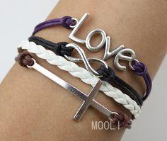 Silver love infinity cross bracelet,wax rope bracelet personalized jewelry gift