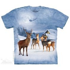 The Mountain Blue Cotton Deer In Winter Design Holiday Novelty Adult T-Shirt Renaissance, Gothic, Winter T Shirts, Winter Christmas, Reindeer Christmas, Holiday, White Tees, Moose Art, Graphic Tees