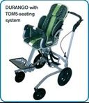 Just Juniors Disability - Patron DURAGO and DENVER Indoor and outdoor high low seating bases for the TOM 5 stroller seat.