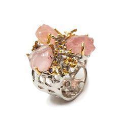 Ring mit Rosenquarz Rohstein Druzy Ring, Amethyst, Brooch, Jewellery, Gold Paint, Pink Quartz, Beads, Stones, Silver