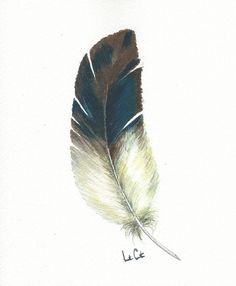 Feather Watercolor Feather Wall Art Watercolor Painting Blue
