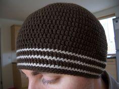 Free Crochet Skater Beanie Pattern.  Men's  skull cap - tam - toboggan - ski hat.