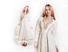 Vintage 1970s Dress GUNNE SAX Ivory Cotton by dejavintageboutique
