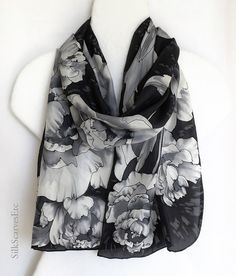 Hand painted silk scarf black silk scarf white by SilkScarvesEtc