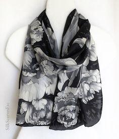 Hand painted silk scarf black silk scarf white by SilkScarvesEtc