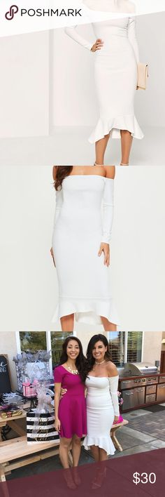 Bardot Fishtail Hem White Flare Dress Dress is stretchy and so flattering on, fits nicely around the top so dress doesn't fall! Gently worn! Missguided Dresses Midi