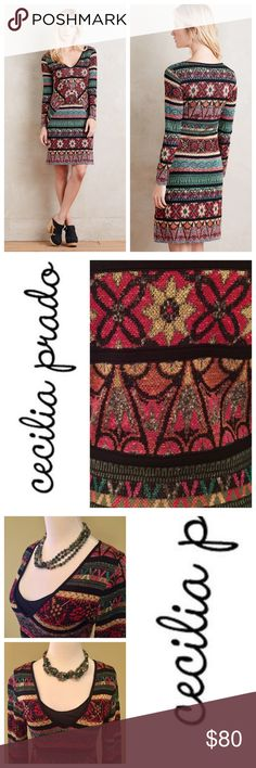 """Anthropologie Cecilia Prado Sweater Dress Very colorful, beautiful sweater dress from Anthropologie by Cecilia Prado, drops to just below the knee on a 5' 7"""" lady. Black liner can be pulled up and shown to create a layered effect - as seen in last image. This is a lovely Fall/Winter dress that looks terrific with a pair of boots. Worn once. No damage. Fabrics: viscose, acrylic, polyamide, cotton. Lining - polyester. (fabric tag is detached; will ship with dress) Size Small. Roomy fit. Can…"""